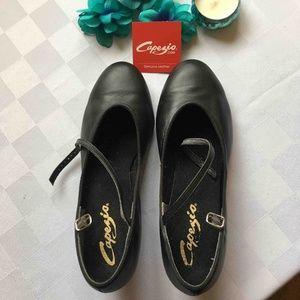 Capezio Black Leather Ballroom Dance Shoes, Sz9M